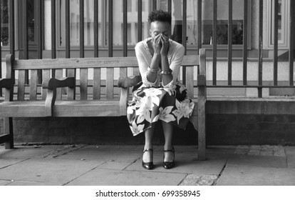 Woman  depressed on bench