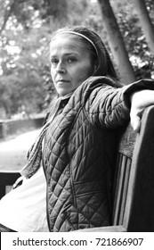 woman depressed in park