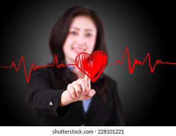 woman designed drawing chart heartbeat