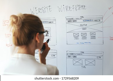 woman designer working on new website development project