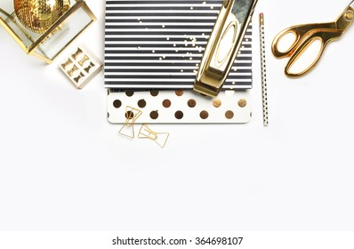 Woman Desktop. Header website or Hero website, Mockup product view table gold accessories. stationery supplies. glamour style. Gold stapler. .