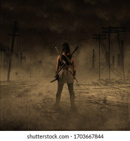 woman destruction in the world. , post Apocalypse and biohazard