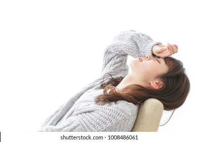 Woman developping a fever