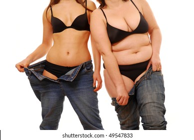 Woman with different body shapes trying on jeans