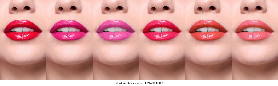 Woman with different color lipsticks, collage. Banner design