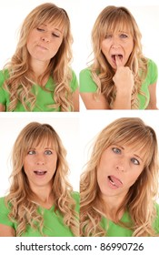 A woman with different funny expressions.