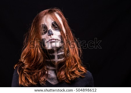 Woman Disguised Skeleton Red Hair Front Stock Photo Edit Now
