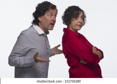 Woman dismissing man, horizontal