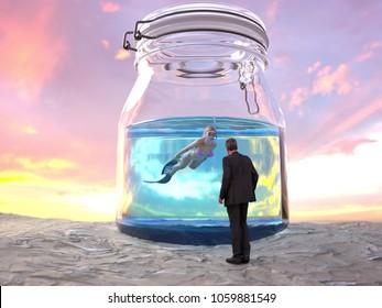 woman dives in a big glass jar, 3d illustration