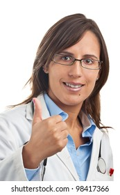 Woman Doctor expressing positivity with Thumbs up Gesture