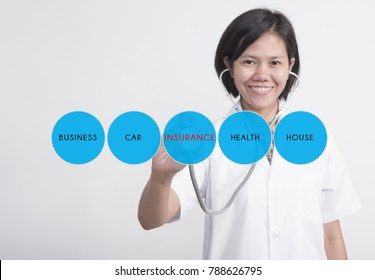 woman doctor with stethoscope in hand check health and medical technology icon. concept insurance.