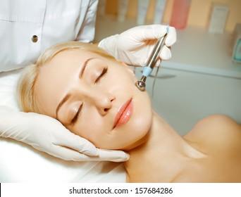 Woman in doctor's office beautician or beauty salon
