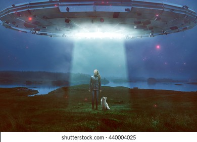 Woman and dog encounter an UFO