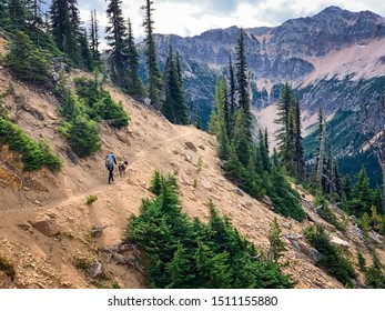 Woman and Dog Hiking in North Cascades National Park in Washington