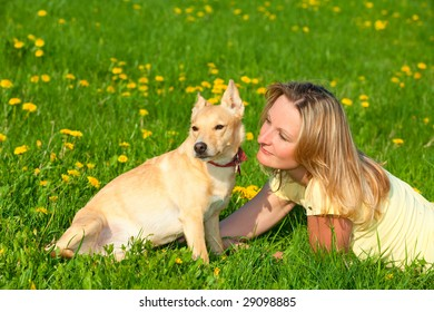 woman and dog meadow