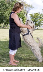 Woman with dog in the park, both have happy expressions