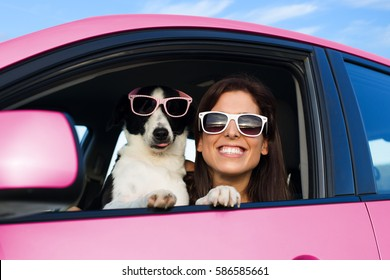 Woman and dog in pink car on summer road trip vacation. Funny dog with sunglasses traveling. Travel with pet concept.