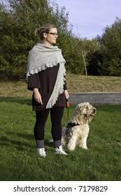 Woman and dog training