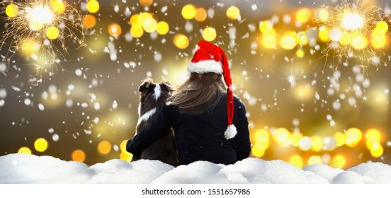 Woman with dog watches fireworks