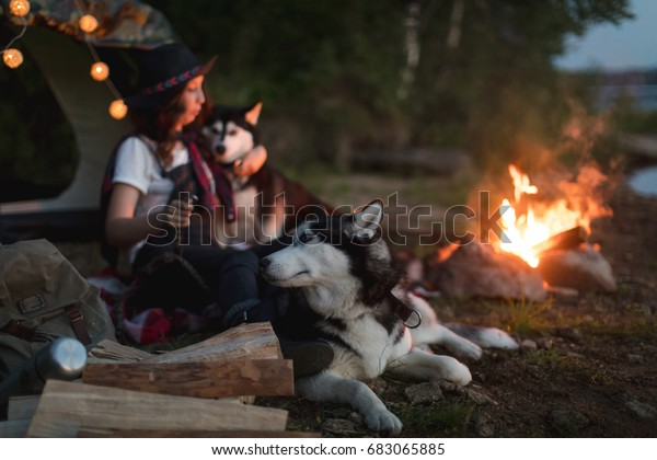 Woman with dogs on nature