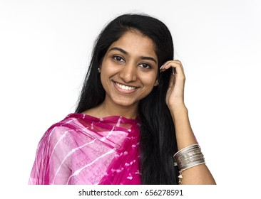 Woman doing close up photoshoot in studio