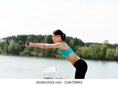 Woman doing excercise in nature