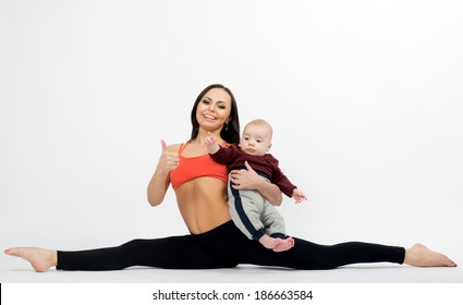 woman doing exercises with a baby