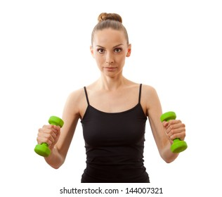 Woman doing fitness exercise with dumbbells, isolated