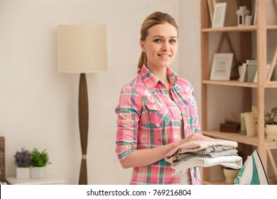Woman doing home choirs housewife lifestyle concept