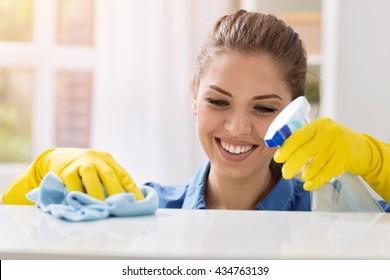 Woman doing housework, housewife portrait