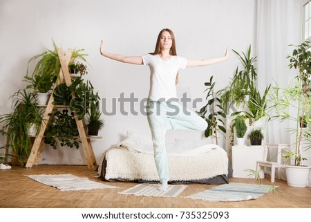 Woman Doing Morning Workout Yoga Bedroom Stock Photo Edit Now