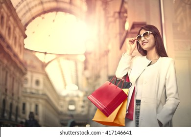 Woman doing shopping in Milan