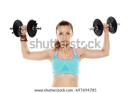 Woman Doing Shoulder Workout With Dumbbells Isolated On White