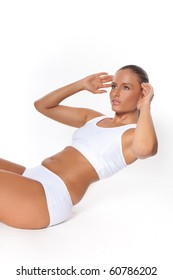 Woman Doing Sit Ups in white