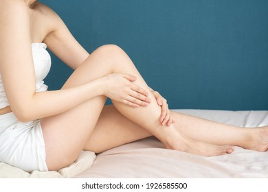 Woman doing skin care in the room