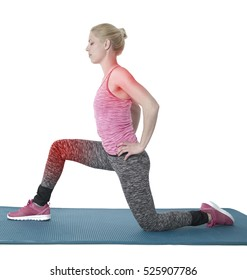 Woman doing stretching exercises isolated on a white background.