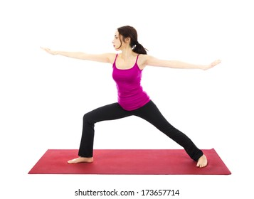 Woman doing Warrior II Pose during Yoga (Series with the same model available)
