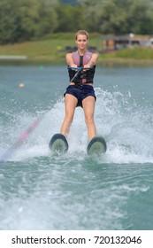 woman doing water-ski