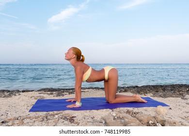 Woman doing yoga asana at the beach. Cat pose