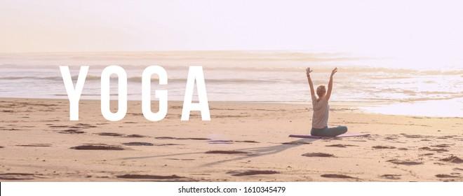 Woman doing yoga on a sunset beach. Text 'YOGA'