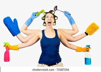 A woman in a domestic role multitasking her cleaning
