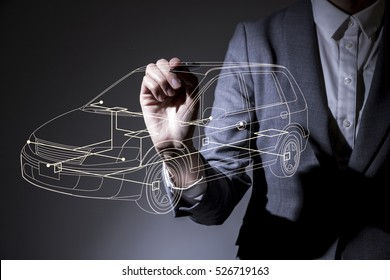 woman drawing a car design in the air, industrial design concept visual