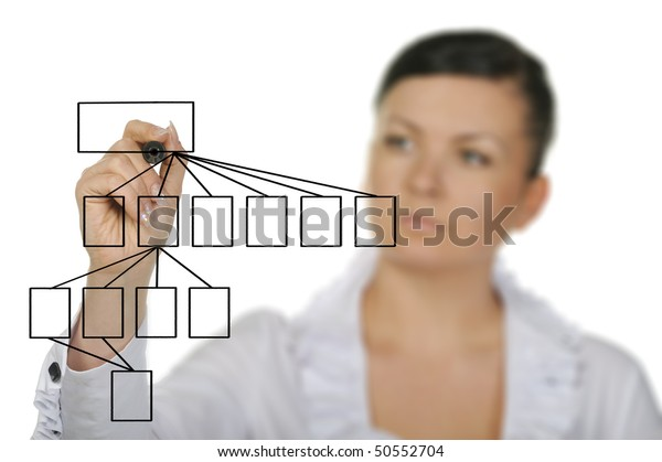 The woman drawing the diagram. Selective focus. It is isolated on a white background.