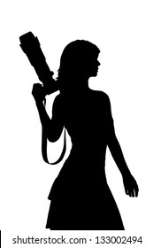 woman in a dress with a camera silhouette