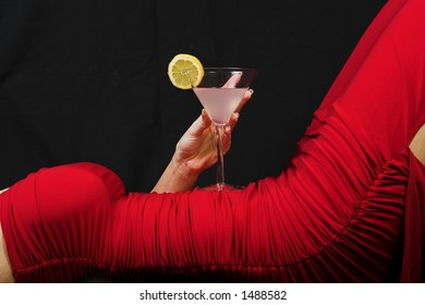 woman in dress and cocktail