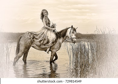 Woman in a dress on a horse, sepia