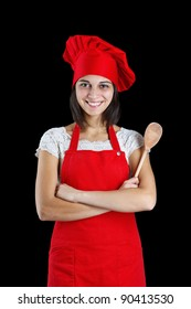 Woman dressed as a cook with cap over black backgound