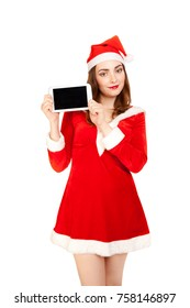 Woman dressed new year red costume holing tablet pc