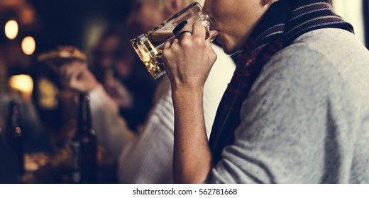 Woman Drink Beer Beverage Hang Out Pub