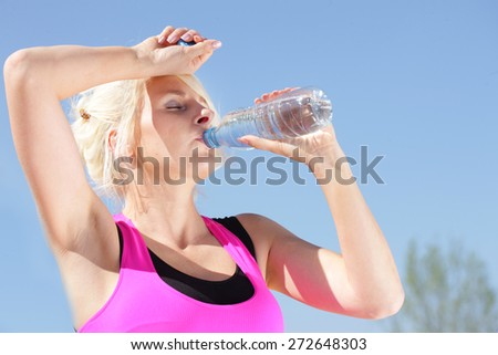 Woman Drinking Water Hot Weather Stock Photo (Edit Now) 272648303